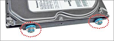HP HDD固定ガイド用のネジ (水色) はコレ