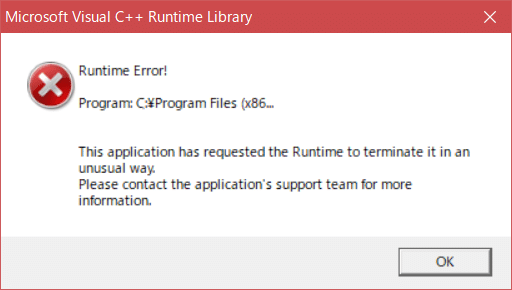富士通PC 起動時にRuntime Error 毎回出るじゃま